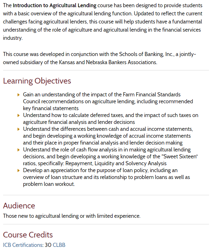 ABA Introduction to Agricultural Lending