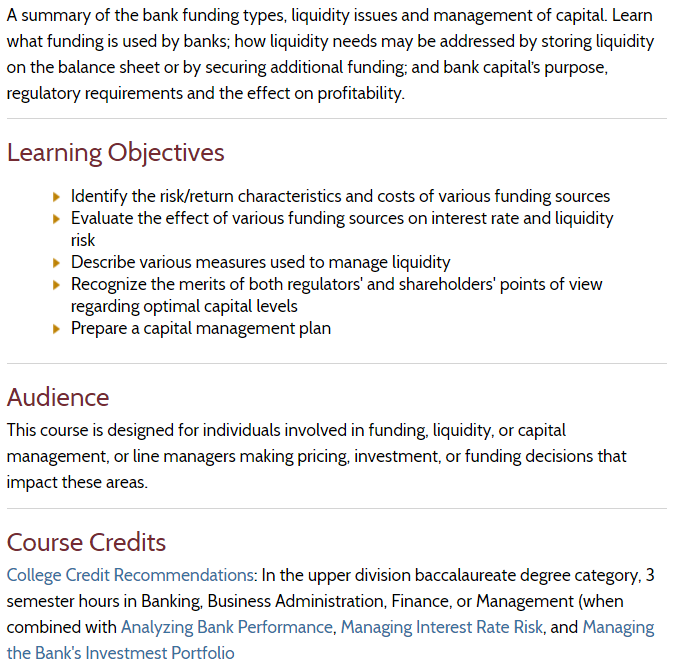 ABA Managing Funding, Liquidity and Capital